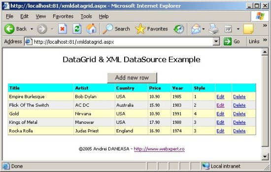 ASP.Net DataGrid and XML as dataSource