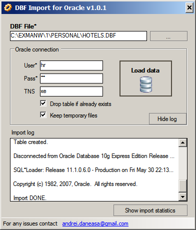 DBase DBF import to Oracle freeware tool - Andrei DANEASA